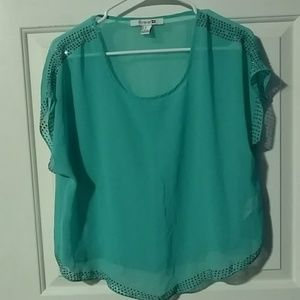 Forever 21 sheer mint green top